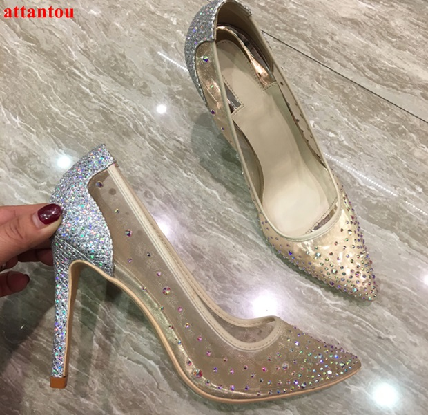 2018 Sexy mesh silver high heels bling bling crystal decor women dress shoes slip-on pointed toe female stiletto party pumps