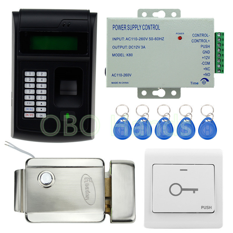 RFID fingerprint door lock system set with biological recognition machine+ RFID access control keypad with electronic door lock biometric face and fingerprint access controller tcp ip zk multibio700 facial time attendance and door security control system