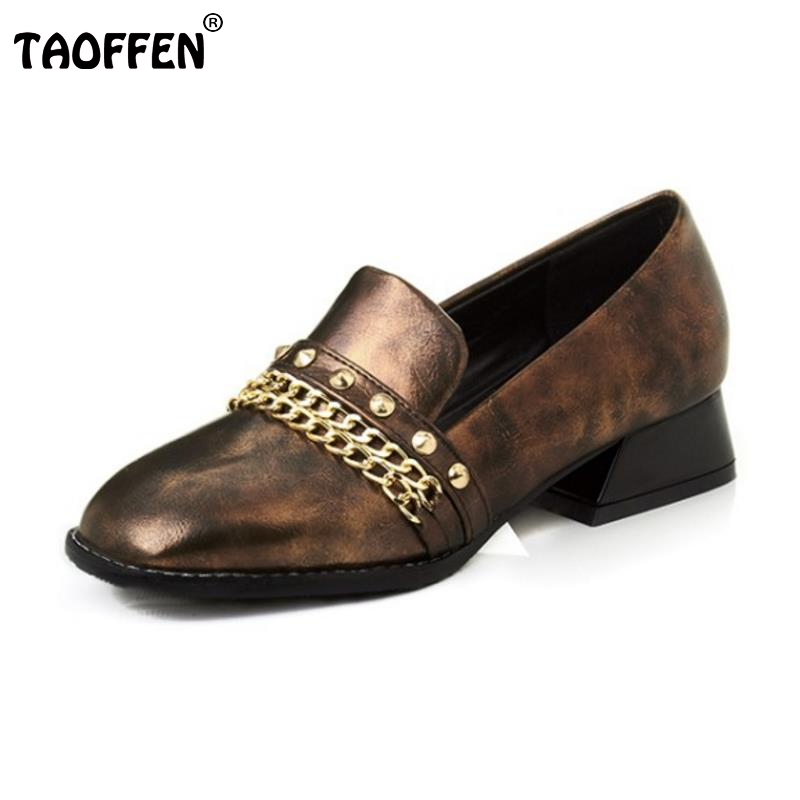 TAOFFEN Plus Size 32-43 Women Flats Shoes Woman Fashion Rivets Round Toe Flat Shoes Ladies Platform Footwear Zapatos Mujer beyarne rivets decoration brand shoes flats women spring autumn fashion womens flats boat shoes sexy ladies plus size 11