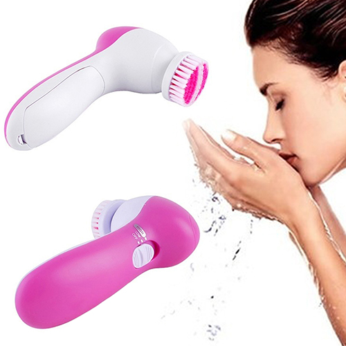 Mini Beauty 5 In 1 Multifunction Electric Face Facial Cleansing Pore Cleanser Brush Massager Skin Care Tool