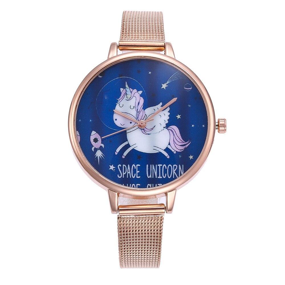 Cartoon Unicorn Women's Watches Simple Ladies Watch Dress Clock Pattern Mesh Alloy Strap Casual Quartz Wristwatch 100pcslot