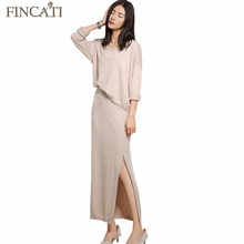 2016 Women's Spring Autumn Cashmere Blend Batwing Sleeve Knitted Sweater+Long Two-Piece Dress Lady Knitwear Pullover