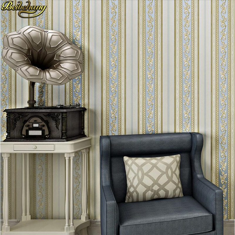 beibehang 3D Exquisite carved nonwoven wallpaper bedroom papel de parede living room sofa TV background stripe wall paper