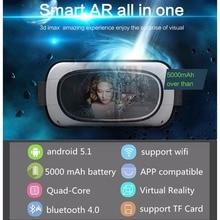 """5 """"1080จุดHD Android 5.1 Quad Core 5000มิลลิแอมป์ชั่วโมง1 + 8กิกะไบต์3D VRความจริงเสมือนชุดหูฟังมือถือส่วนตัวCinema Nakedตาแว่นตาหมวกกันน็อค"""