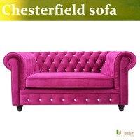 U-BEST Velluto di Alta qualità Lira Divano Chesterfield, Vintage rosso-rosa Velluto Divani, 2 posti divani & divanetti
