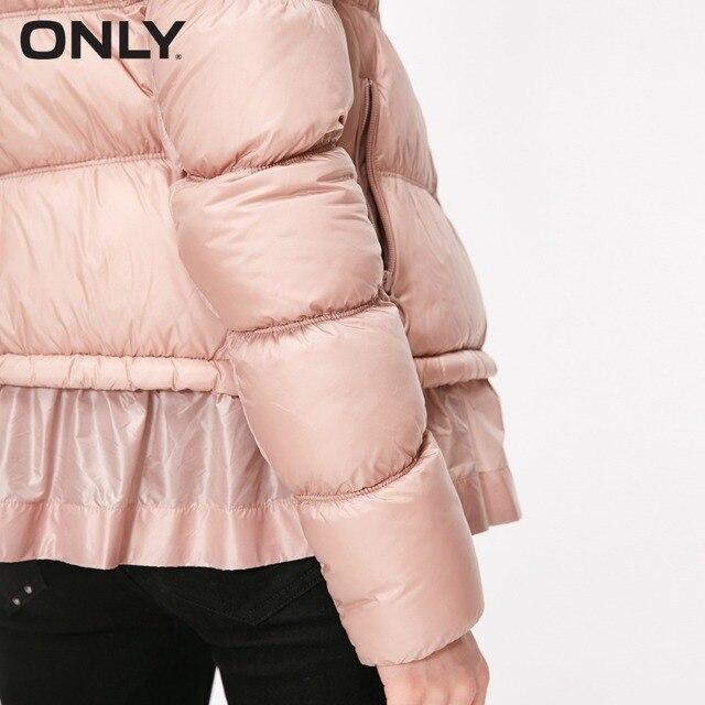 ONLY doudoune courte à ourlet à volants en duvet de canard blanc léger pour femmes | 118323506