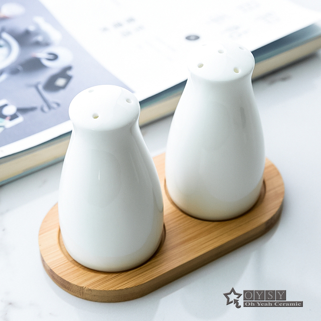 Porcelain Salt And Pepper Shakers Pure White Bone China In Bottle Free Shipping