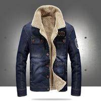 2018 New Fashion Retro Thicken Fleece Warm Denim Jacket Autumn Winter Men's Corduroy Jeans Jacket With Fur Collar Loose Coat 4XL