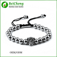 Fashion Jewelry Vintage Look Stainless Steel Plated Handmade Rope Woven Gentleman Skull Bead Bracelet BC 0070