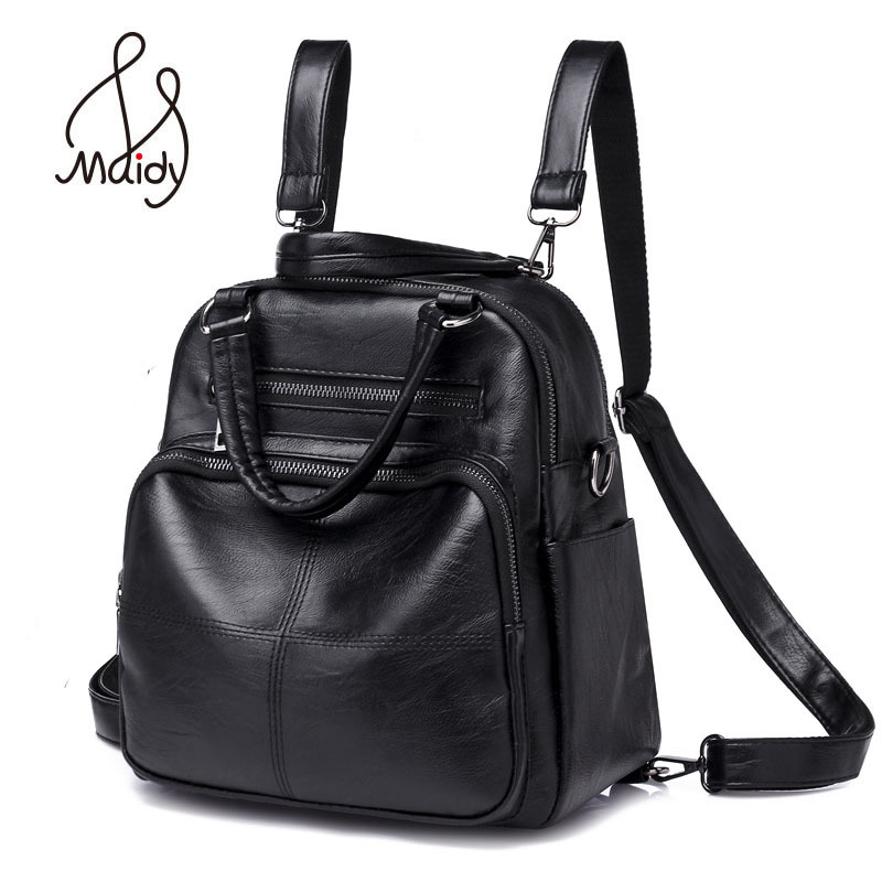Madiy Vintage Ladies Lady Woman Girls Large Backpack Pu Leather Shoulder School Bags For Teenagers Travel Hangbags Back Pack