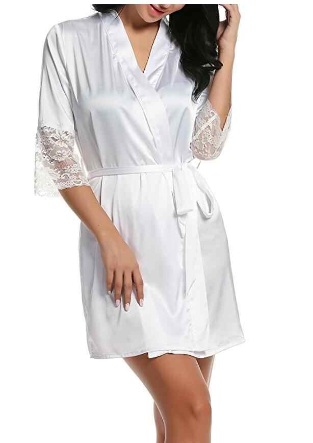 Phụ nữ của mùa thu phong cách sexy ren choàng tắm cao chất lượng bất silk quần áo ngủ robe ngủ cám dỗ home mang nữ áo badjas