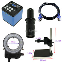 2.0MP Industrial Video Microscope Camera VGA Output 10X-180X Optical C-Mount Lens LED Light Adjustable Lift Bracket