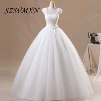 Real Photos Simple Ball Gown Wedding Dresses 2017 3D Flowers Lace Up Corset Wedding Gowns Vestidos