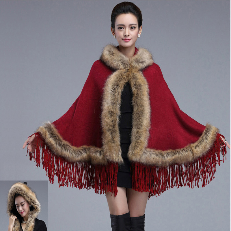 New Hot Sale Tassels Hooded Soft Cashmere Sexy Wild Raccoon Fur Shawl Pashmina Faux Fur Coat