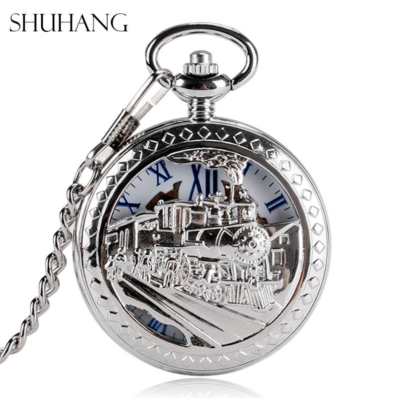 SHUHANG Silver Tone Train Front Locomotive Engine Design Pendant Mechanical Pocket Watch with FOB Chain Mens Womens Unique Gift