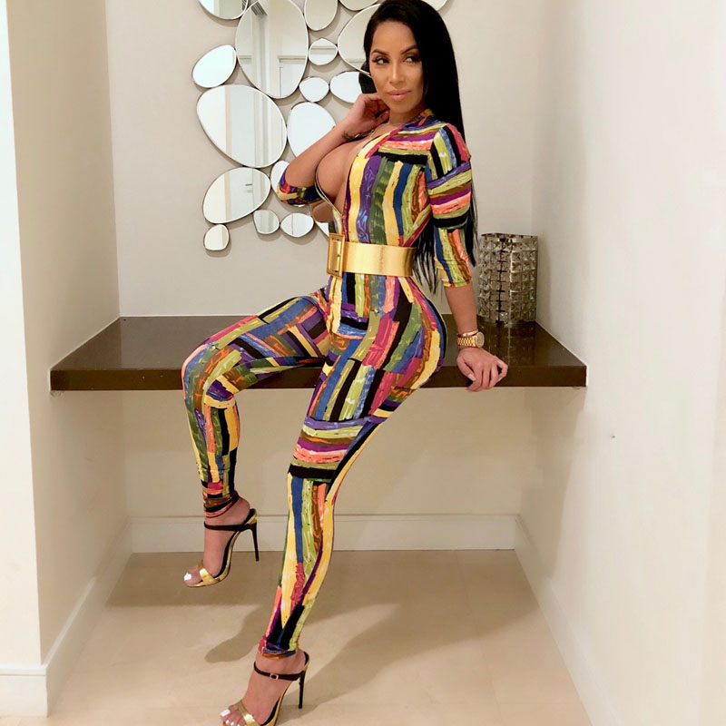 Fashion Graffiti Print Women Jumpsuits Sexy Zipper V-neck Long Rompers Womens Jumpsuit High Street Mid-waist Bodysuit Body Femme