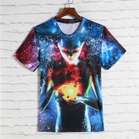 Galaxy Man's Clothing 3D Print Travel Street Man's Tops Unisex Harajuku Short Sleeved Clubwear Clothing