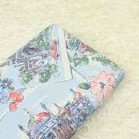 1 Meter Export Canvas Coarse Fabric With England Floral Print Handmade DIY Bag Sofa Pillow Base