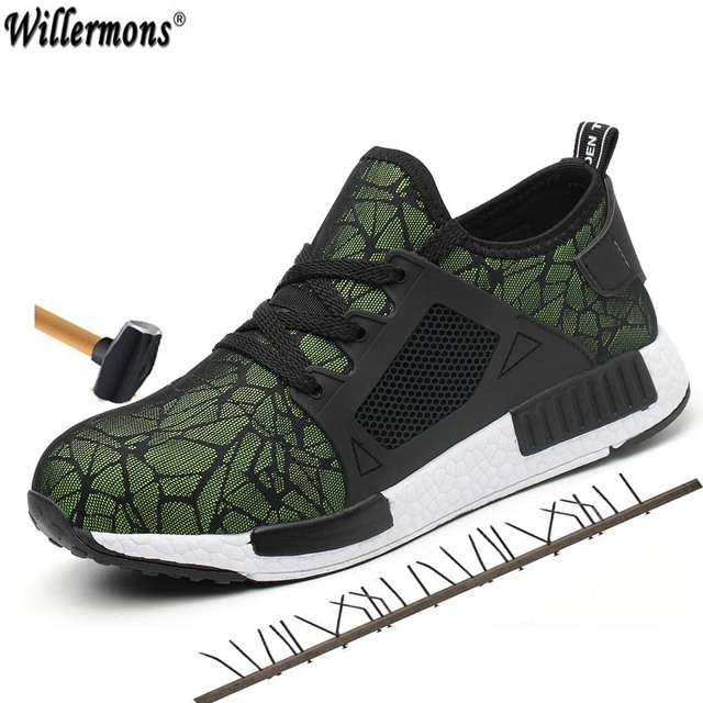 Men's Fashion Plus Size Outdoor Steel Toe Protective Safety Shoes Men Breathable Steel Mid Sole Puncture Proof Work Boots Shoes