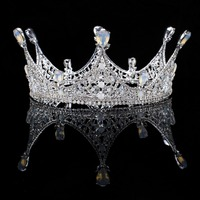 Vintage Baroque Silver Crystal Round Queen Princess Crown For Wedding Tiara Hair Jewelry Handmade Bride Hair