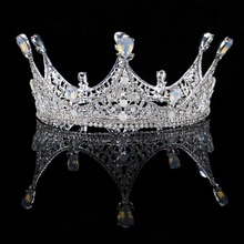 Vintage Baroque Silver Crystal Round Queen Princess Crown For Wedding tiara Hair Jewelry Handmade Bride Hair Accessories