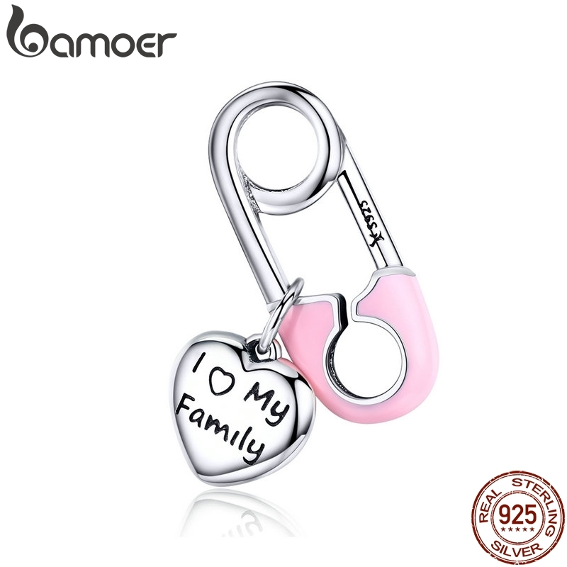 BAMOER 925 Sterling Silver Pink Enamel Pink Family Heart Charms Fit Charm Bracelets Fashion Jewelry SCC1145BAMOER 925 Sterling Silver Pink Enamel Pink Family Heart Charms Fit Charm Bracelets Fashion Jewelry SCC1145