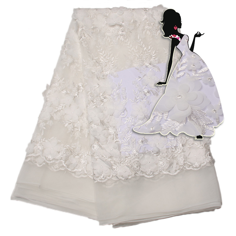 Nigerian Lace Fabric 2018 High Quality Laces, White 3D Lace Fabric For Wedding, French Embroidered Tulle For Women Ks1343B