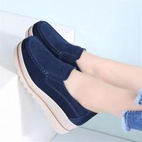 2018 Spring Fall Fashion Flats Platforms Shoes Women Leather Suede Casual Slip on Shoes moccasins Thick Sole Tennis Female