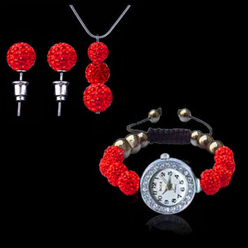 New New Arrival Fashion Jewelry Set Bead Watch3 Beads Pendant Necklace+Stud Earring Set montre femme Clock Timer beads pendant necklace