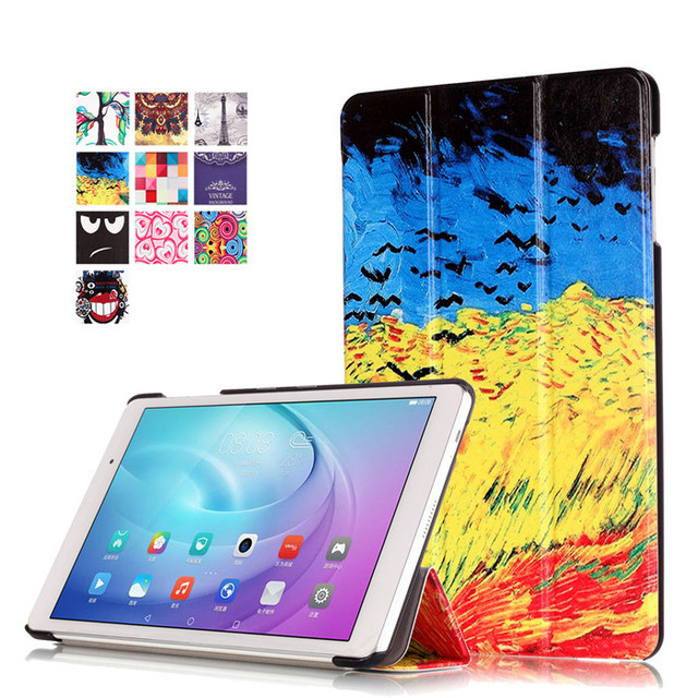 """PU Leather Stand Cover Case for Huawei Mediapad T2 10.0 Pro (FDR-A01W) 10.1"""" Tablet + 2Pcs Screen Protector"""