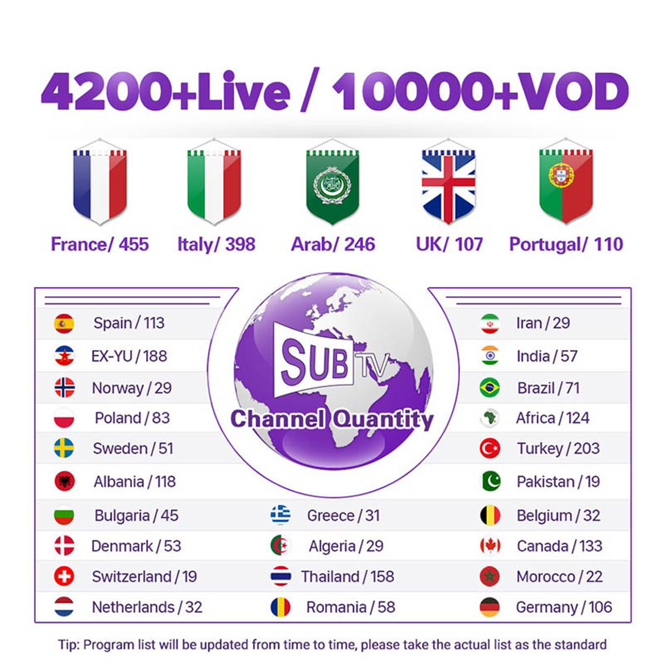 IPTV France italie grec arabe IPTV pour Android TV Box QHDTV SUBTV IUDTV DATOO 1 an IPTV Code italien français IP TV Portugal - 5