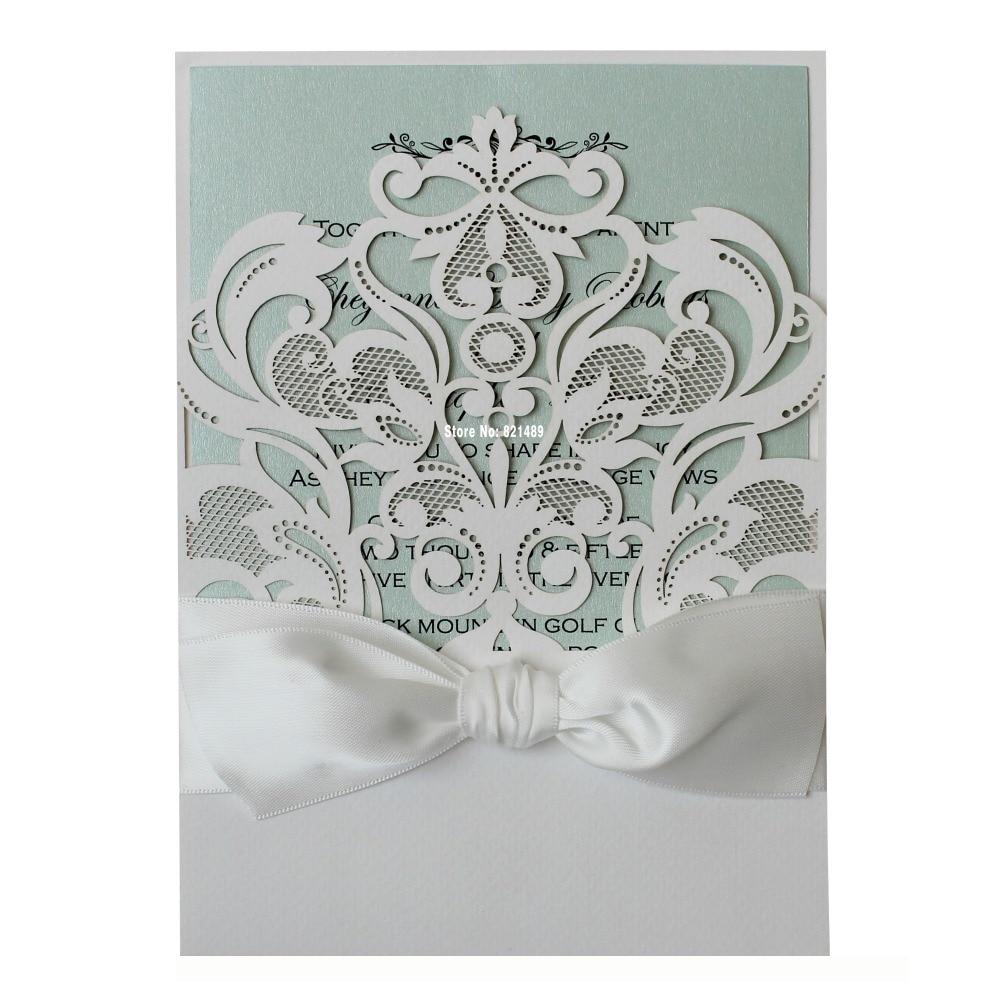 Elegant White Wedding Invitations, Mint Invitation Cards, Wedding ...