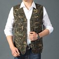 Summer Fall Casual Big Plus Size Mens Military Camouflage Cotton Sleeveless Vest , Male 4XL Loose Journalist Photographer vests