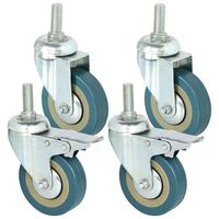 New Heavy Duty 75mm Swivel Castor with Brake Trolley Casters wheels for Furniture, Set of 4