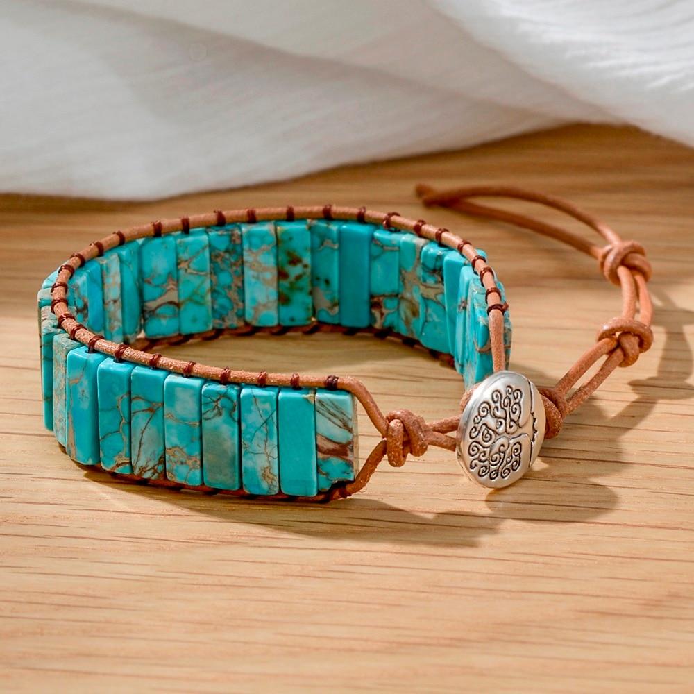 Bohemian Bracelet Tube Shape Natural Stone Blue Leather Rope Wrap Bracelet Women Beaded Couples Bracelet Dropshipping
