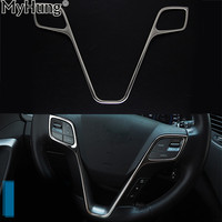 Car Steering Wheel Sequins Cover Interior Stainless Steel For Hyundai All New Santafe Ix45 2015 Sequins Car Styling Decoration