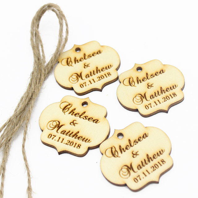 60pcs 1 57 custom engraved wooden gift tags wedding name tags fancy