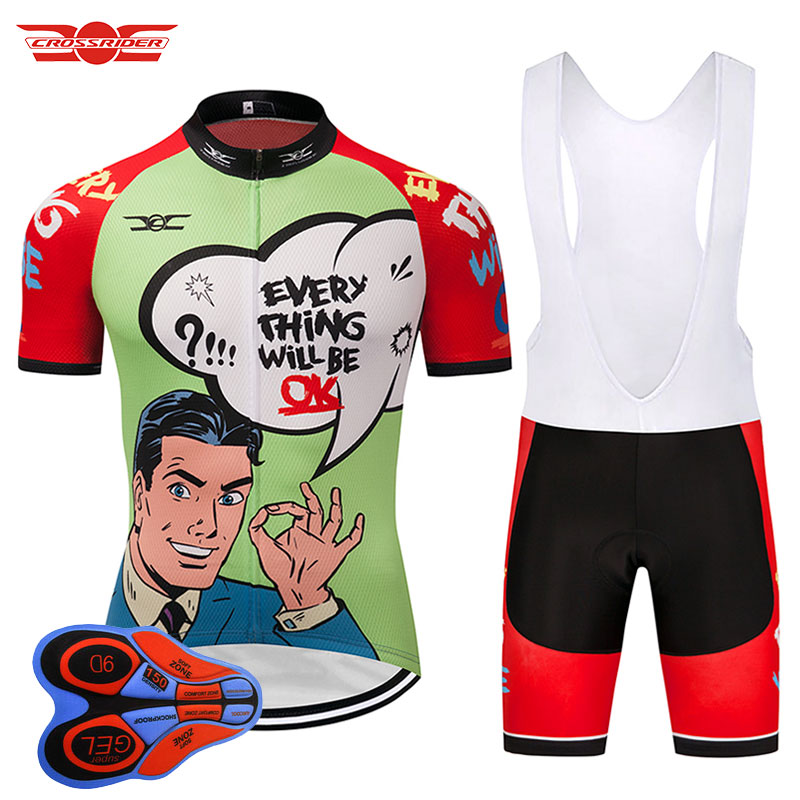 Crossrider 2018 Men/Women Short cycling jersey MTB bicycle clothing Bike wear clothes Breathable bib sets 9D Gel Maillot Culotte