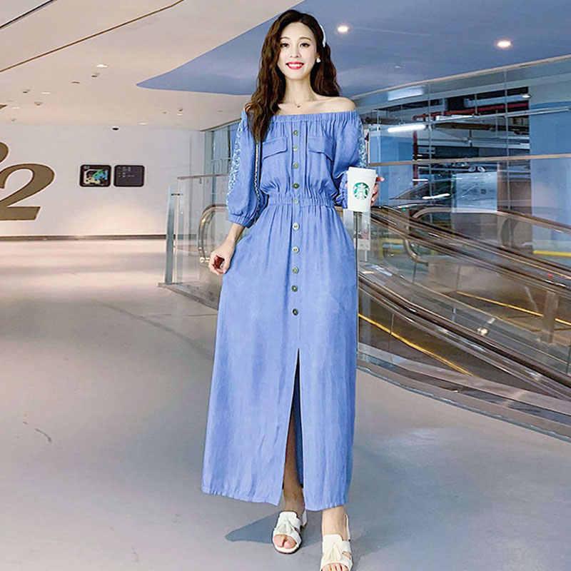 נשים ג 'ינס חולצה שמלת אביב אופנה פנס שרוול מקסי שמלת Robe Femme כחול אחת חזה מקרית ארוך ג' ינס שמלות 586