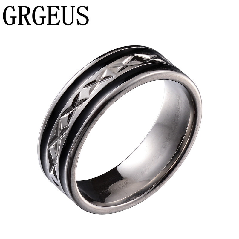 black men ring 100 titanium carbide mens jewelry wedding bands classic boyfriend giftchina - Wedding Rings Mens