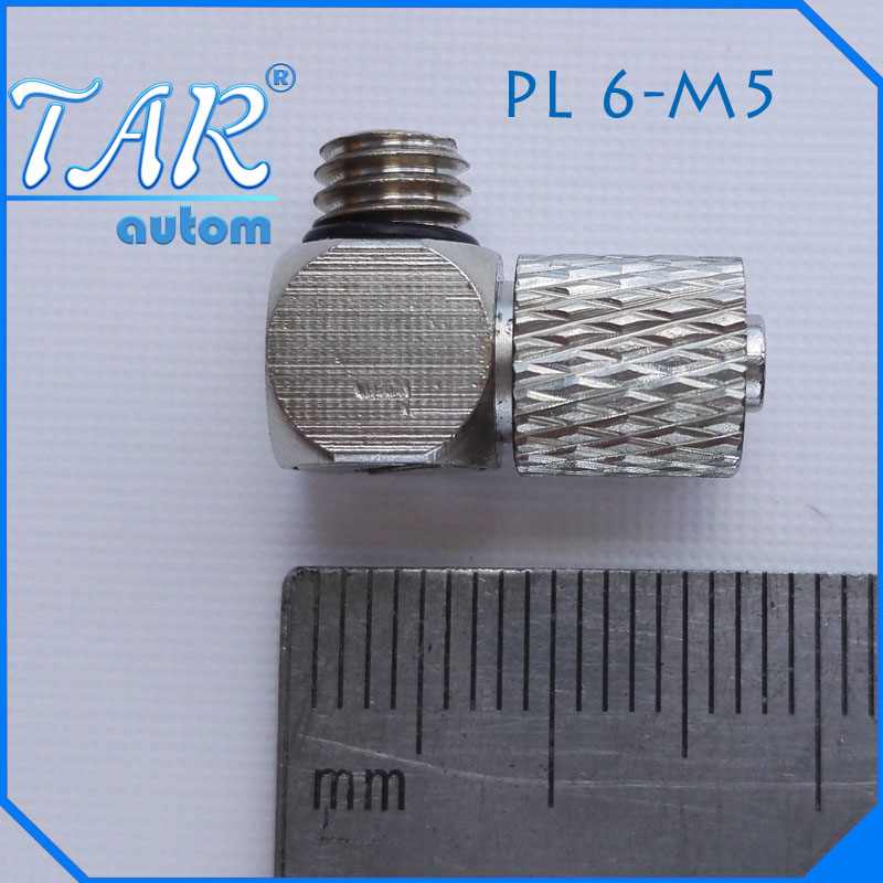 50 Pieces M5 - 6mm Elbow Pneumatic Pipe Air Hose Quick Fitting Mini Connector Iron ...