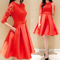Lace Patchwork autumn Dress Women Sexy Red Prom Party Dress 50s 60s Retro Swing Rockabilly Elegant Vintage Sundress Plus Size