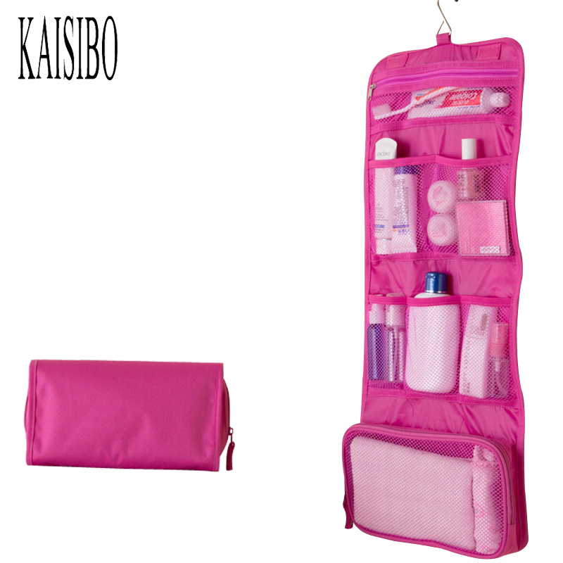 KAISIBO Foldable Travel Cosmetic Bag 2017 Solid Women Bags Hanging Toiletries Bags Makeup Holders Necessarie Traveling Organizer