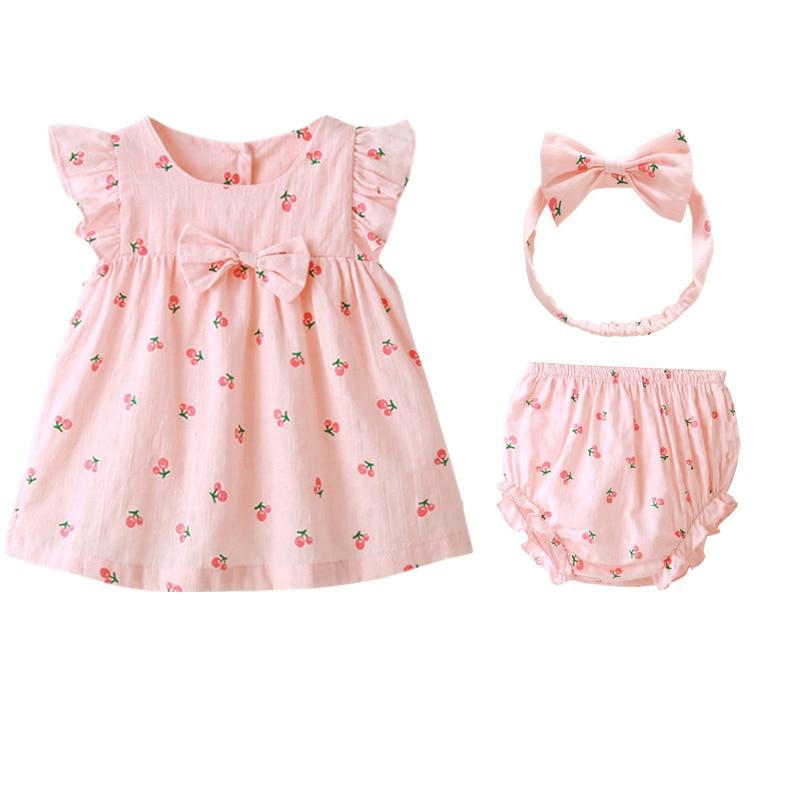 2020 verão meninas roupas do bebê conjuntos de algodão mangas curtas 1y bebê vestido headdress crianças festa princesa doce roupas