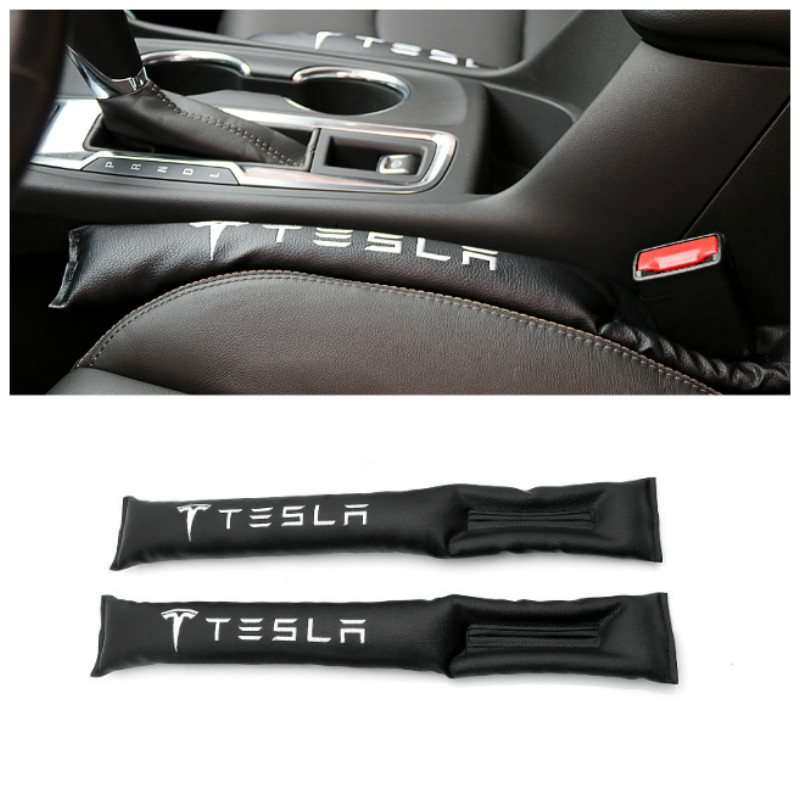 2pcs PU Leather Car Seat Gap Pad Fillers Spacer Storage Slot Plug Car Interior Acessories For Tesla Model S Model X Model 3