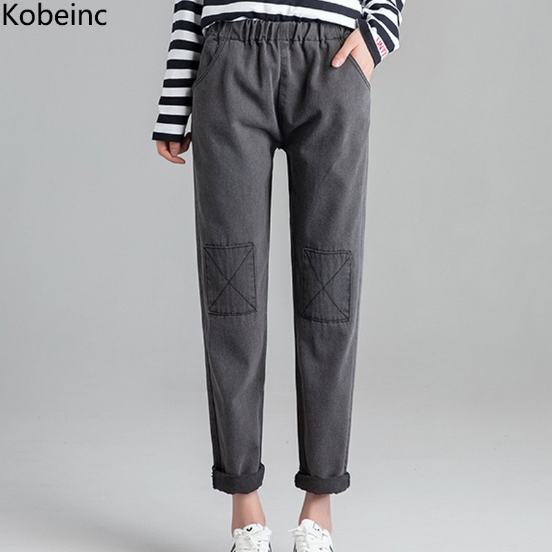 Kobeinc Gray Boyfriend Jeans for Women Knee Sewing Design Denim Pants Harajuku Elastic Waist Harem Pantalones Full Length laptop keyboard for dell 15 5547 17 5748 15 3541 15 3542 15 5542 15 5545 black fr french with frame mp 13n76fo 442