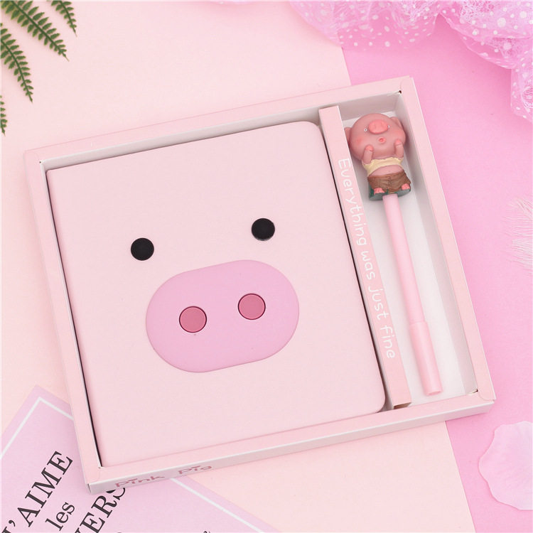 1 set Creative Student Gifts Kawaii Pink Cartoon Pig Notebook journey/Travel Girls Secret Diary Book With a Cute Pig Pen1 set Creative Student Gifts Kawaii Pink Cartoon Pig Notebook journey/Travel Girls Secret Diary Book With a Cute Pig Pen