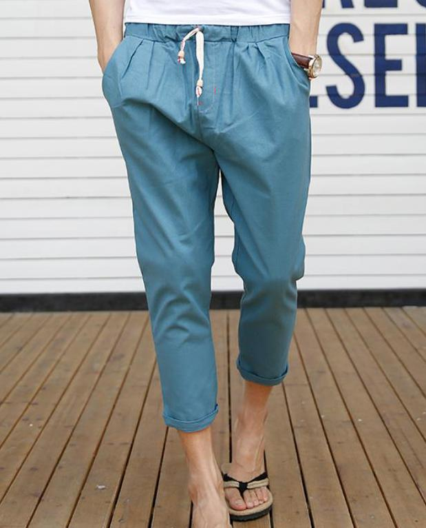 Мужские летние плюс Размеры Повседневное середины лодыжки-длина брюки эластичный пояс свободные брюки карандаш Для мужчин Лен дышащий карандаш капри - Цвет: 6