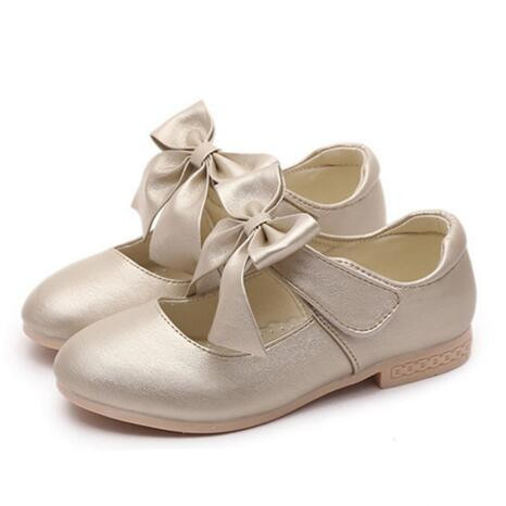 NEW Spring/Autumn Dance Shoes Girls Princess Flats Fashion Bowtie Crystal Shoes Baby Children Casual Kids Leather Shoes 02