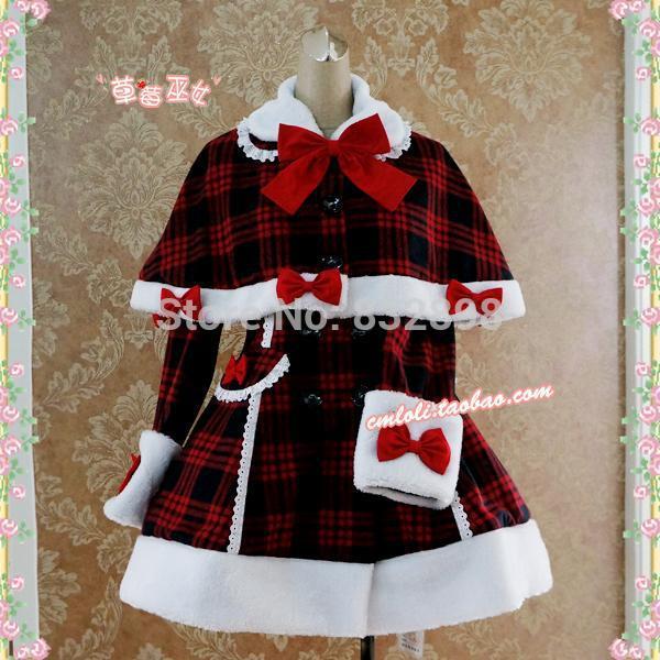 Заказ дешевые Японии теплый плед зима Сладкая Лолита пальто кролик волос Обувь для девочек зимние стоимость всех Размеры для продажи